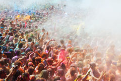 People at Festival of colours Holi Barcelona Royalty Free Stock Images