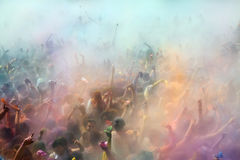 People at Festival of colours Holi Barcelona Royalty Free Stock Photography