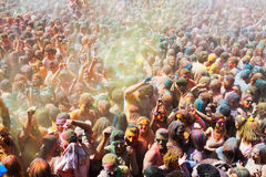 People at Festival of colours Holi Barcelona Stock Images