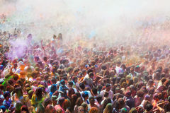 People at Festival of colours Holi Barcelona Stock Photo