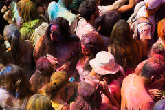 People at Festival of colours Holi Barcelona Stock Photos
