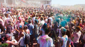 People at Festival of colours Holi Barcelona Royalty Free Stock Photo