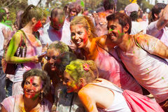 People in  Festival  Holi Barcelona Royalty Free Stock Photos