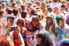 People at  Festival Holi. Holi is  holiday of Indian Culture Stock Photos