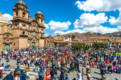 People at festival in the Plaza de Armas at Cuzco Peru stock images