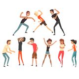 People fighting and quarreling. Aggressive and violent behavior. Negative emotions. Young guys and girls. Flat vector. People fighting and quarreling. Aggressive royalty free illustration
