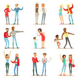 People Fighting And Quarrelling Making A Loud Public Scandal Collection Of Cartoon Characters Aggressive And Violent. Behavior Illustrations. Two Person Bicker Royalty Free Stock Photos