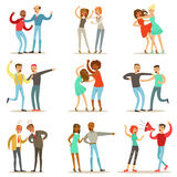 People Fighting And Quarrelling Making A Loud Public Scandal Collection Of Cartoon Characters Aggressive And Violent. Behavior Illustrations. Two Person Bicker Stock Photo