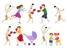 People fighting smoking habit and scared children. People fighting smoking habit, scared children and huge cigarette frightening kids and running away, cartoon Royalty Free Stock Images