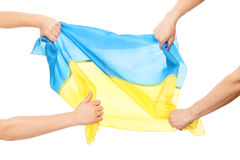 People fighting for Ukrainian flag Stock Photography