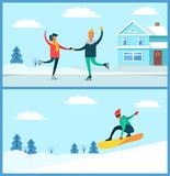 People Skating, Snowboarding Vector Illustration. People figure skating and snowboarding, man with glasses and couple dancing on ice beside house, winter and Stock Images