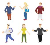 People figures. Collection of stylized people figures colored illustrations royalty free illustration