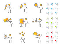 People figures with attributes scribble. Hand-drawn people figures with attributes in scribble style. Different colors scheme Royalty Free Stock Image