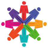 People figures in circle. Abstract people figures with different colors in a circle Stock Photos