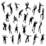 People figures in motion. Dancing people set. Cute black silhoue. Ttes of moving person. Vector illustration in simple incomplete artistic style. Design for Stock Photo