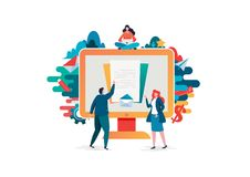 People fill out a form. Online application. Flat cartoon character graphic design. Landing page,banner,flyer,poster. Web page vector illustration