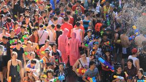 Thai New Year And Water Festival.Tourist Splash Water With Fun. People are filled with happiness on songkran day  thai new year  or water festivals. Tourist Stock Photo