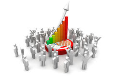 People with  financial graph. 3d business people with  financial graph Stock Images