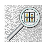 People Finder. A group of anonymous people are under a magnifying glass to symbolize finding people in a maze. Fully scalable vector illustration Stock Images