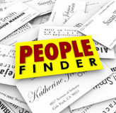 People Finder Business Cards Employment Recuiter Hiring Job. People Finder words on business cards to illustrate a recruiter finding qualified candidates for a Stock Image
