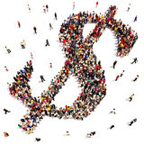 People finding financial success or saving money c. Large group of people forming the symbol of a dollar sign on a white background Stock Images