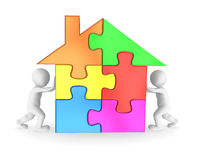 People finishing the house puzzle. 3d rendered illustration Royalty Free Stock Photography