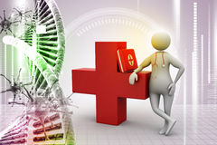 People with first aid box and stethoscope. In color back ground Stock Image