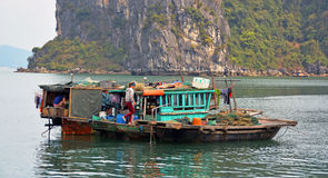 People on a Fishing Boat in Ha Long Bay, Vietnam Stock Photos