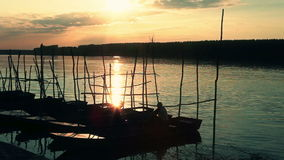 People fishing in a boat stock footage