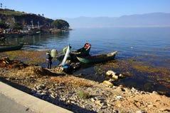 People fishing on Erhai lake, Dali, Yunnan province, China Royalty Free Stock Images