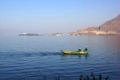 People fishing on Erhai lake, Dali, Yunnan province, China Stock Photography