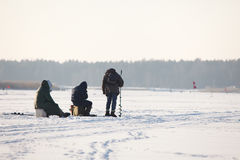 People fishing on ice Stock Image