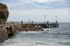 People fishing on the iconic Second Valley jetty on an overcast. Day on the Fleurieu Peninsula South Australia on 1st November 2018 stock images