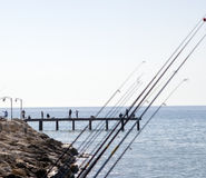 People fishing on pier Royalty Free Stock Images