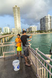 People at fishing Pier in Sunny Isles Beach , Florida Royalty Free Stock Photography