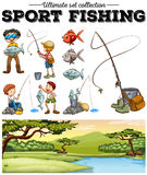 People fishing and river scene. Illustration Royalty Free Stock Images
