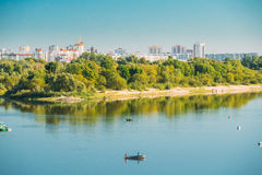 People Fishing From Rowing Boat In Sozh River In Gomel, Belarus. Stock Photos