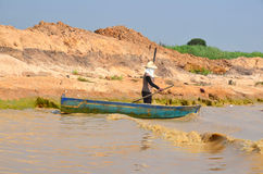 People fishing on Tonle Sap Lake Royalty Free Stock Photography