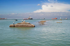 People fishing in Vung Tau Vietnam Royalty Free Stock Photography
