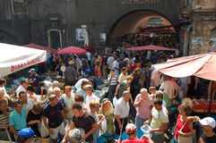 People at the fishmarket of Catania Royalty Free Stock Photos