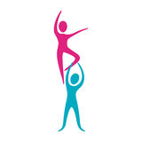 People fitness dancing icon Royalty Free Stock Photo