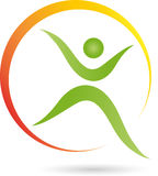 People, Fitness, Health, Naturopaths. Man and Fitness, Health logo, Naturopaths logo, person on the move Stock Image