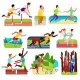 People fitness running vector athlet character jogging to train for marathon and couple of friends jog together stock illustration