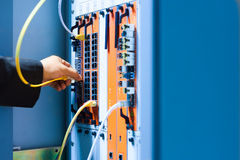 People fix core switch in network room Stock Image