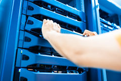 People fix server network in data room.  Royalty Free Stock Images
