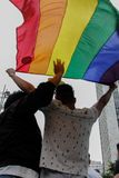 People with a flag in the Gay Pride Parade Sao Paulo 2018. People with flag in the lesbian, gay, bisexual, and transgender culture in the 22th LGBTI Pride Parade royalty free stock photos