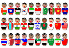 People and flags from Asia. Illustration of representative people from Asia dressed in their national flags Vector Illustration