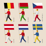 People with flags: Belgium, Belarus, Czech Republic, Austria, Ne Royalty Free Stock Photo
