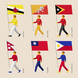 People with flags: Butan, Brunei, East Timor, Nepal, Taiwan, Philippines Stock Photos