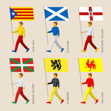People with flags - Catalonia, Basque Country, Scotland, Northern Ireland, Flanders, Wallonia Walloon Royalty Free Stock Photography